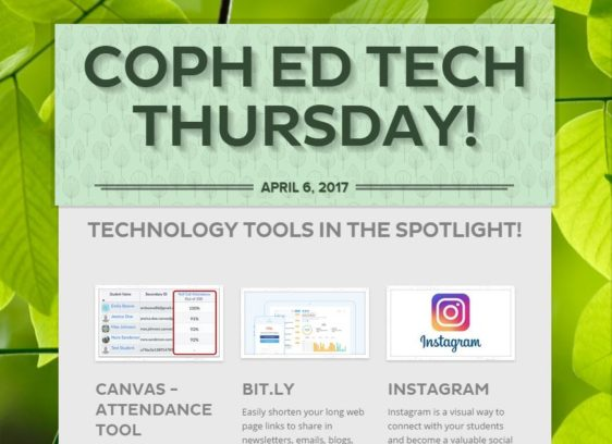 COPH ED Tech Thursday Newsletter
