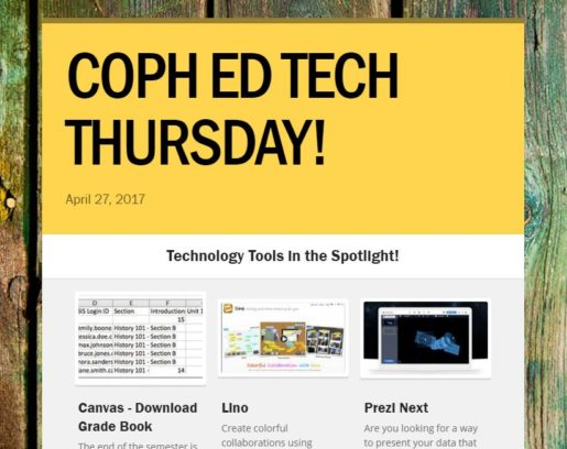 coph ed tech thursday newsletter snippit