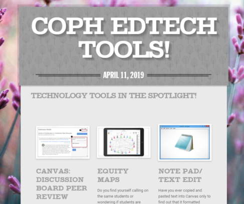 COPH ED Tech Image of newsletter