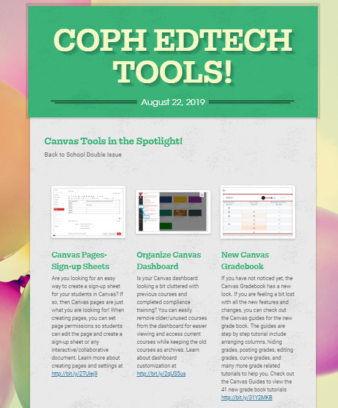 screenshot of the coph ed tech newsletter for august 22 2019