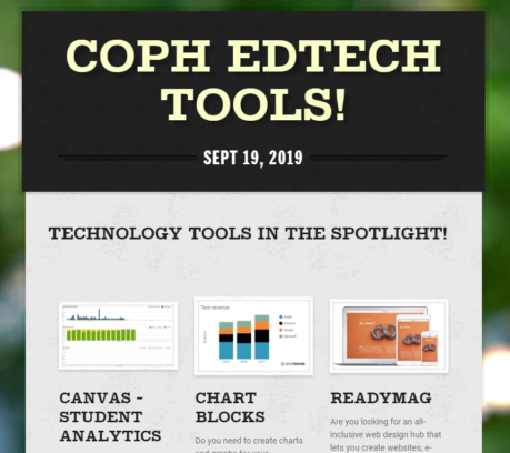 Screenshot of the COPH ED TECH NEWSLETTER